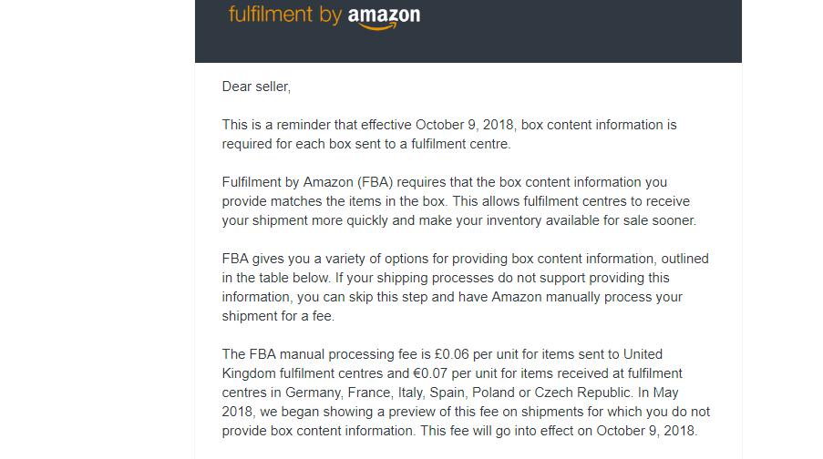 10月9号起,FBA再有一项新的收费项目执行